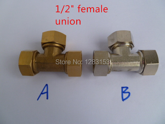 free shipping brass union tee 1 2 inch female Gas pipe joint DN15 chrome and brass
