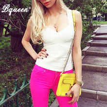 Bqueen New Sexy Women Spring Summer V Neck Bandage Tank Top Black White Red Fashion Spaghetti