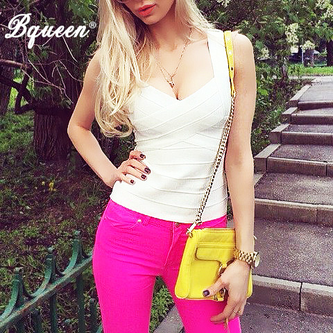 Bqueen New Sexy font b Women b font Spring Summer V Neck Bandage Tank Tops Black