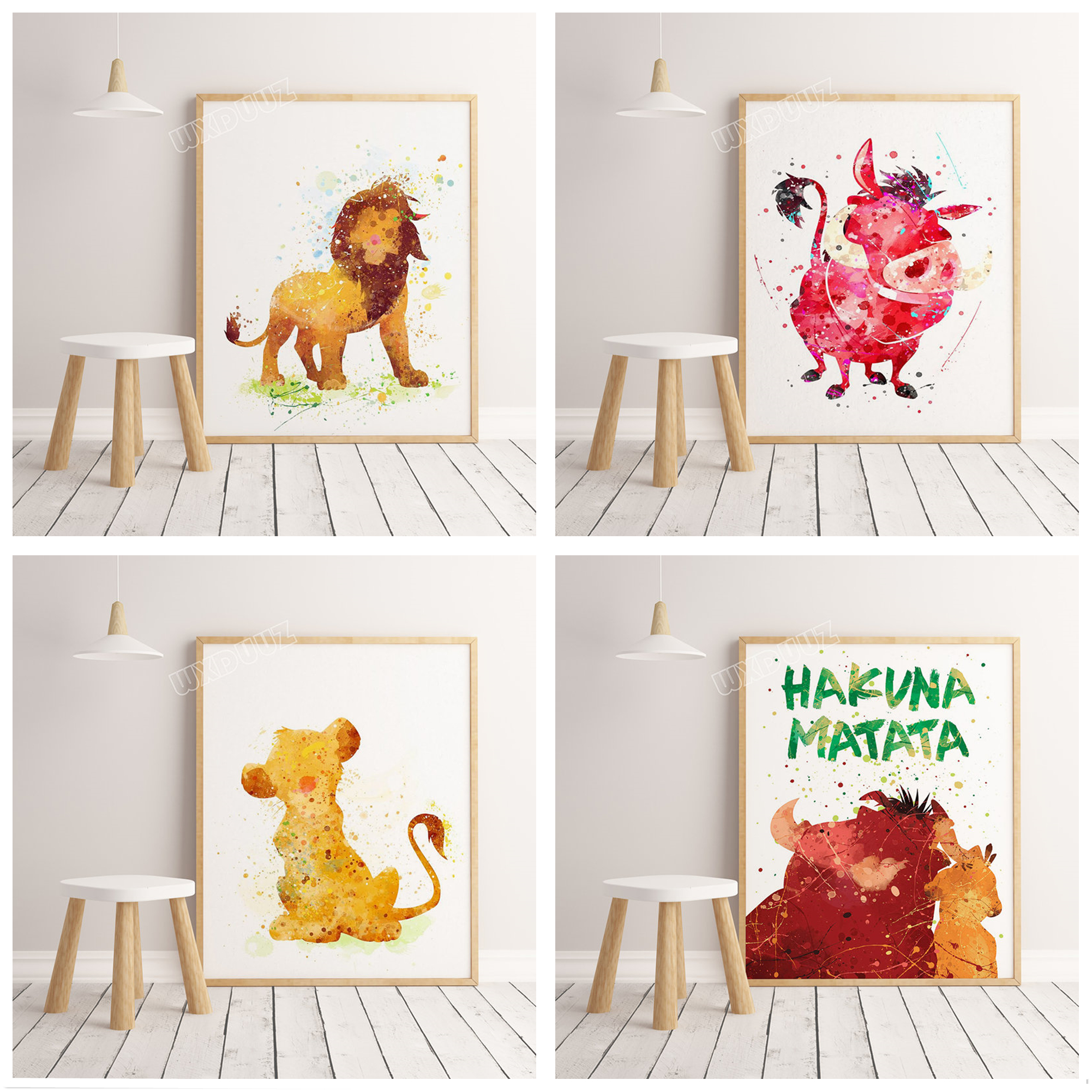 Lion King Poster Watercolor Cartoon Simba Painting Wall Art Picture Children's Room Home Decoration Canvas Painting A248