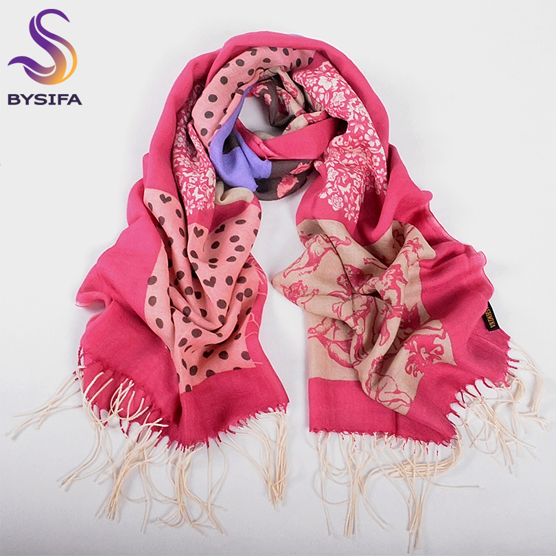 [BYSIFA] Women Purple Grey Wool Scarves Pashmina New Brand Chinese Roses Tassel Long Scarf Shawl Polka Dot Winter Warm Scarves