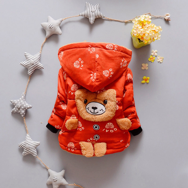 Baby Boys Children Outerwear Coat Fashion Kids Jackets for Boys&girls Winter Cartoon Bear Jacket Warm Hooded Children Clothing