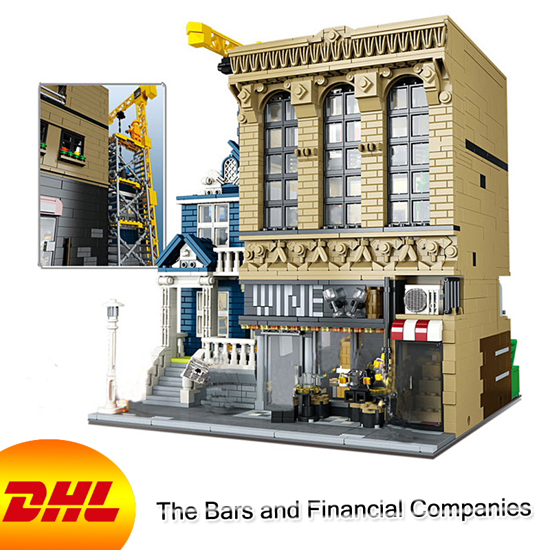 HF City Street MOC Figures 2841Pcs The Bars and Financial Companie Model Building Kit Blocks Bricks Educational Toy For Children loz mini diamond block world famous architecture financial center swfc shangha china city nanoblock model brick educational toys