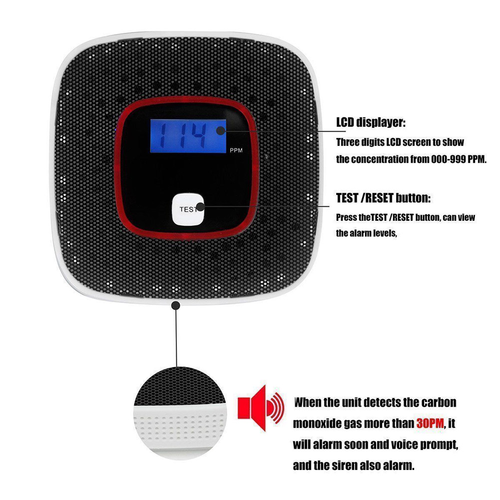 LCD CO Carbon Monoxide Gas Alarm Sensor Poisoning Smoke Tester Detector Monitor Tool LSMK99