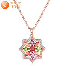 FYM Fashion Rose gold color AAA Cubic Zircon Ncklaces For women Luxury Necklace & pendant jewelry wholesale fym luxury gold color jewelry sets necklace earring for women wedding with aaa cubic zircon girlfriend gift wholesale js0131