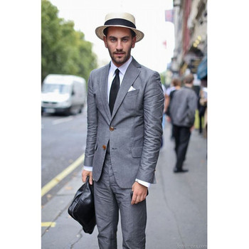 New Grey Mens Suits Daily Work Wear 2017 slim Tailored gray smoking Groom men Suit For Wedding terno masculino (Jacket+Pants)