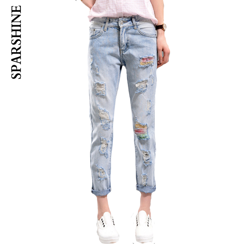 SPARSHINE autumn nine point jeans frayed new wave of femals causual loose pants influx beggars pants blue jeans
