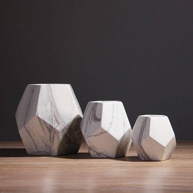 Vaso de cerâmica branco com marcação, decoração de casa ou escritório, em formato de geométrico, 1 peça 10/13/17cm