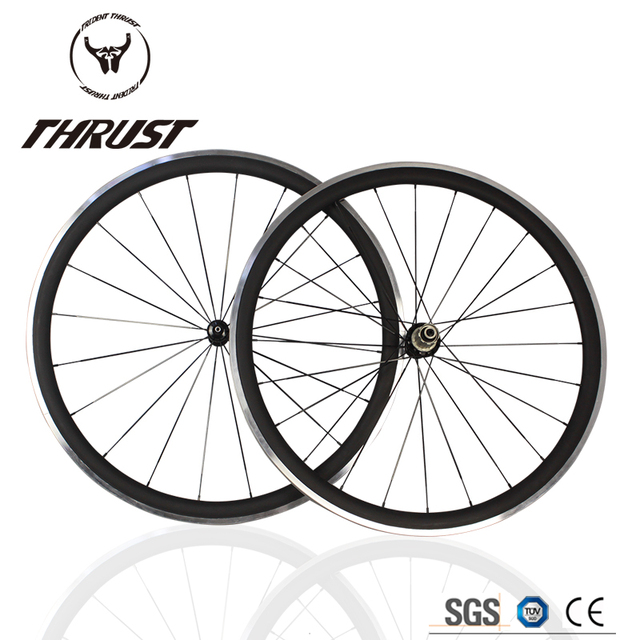 Cheap hot sale 700c basalt/alloy surface carbon wheelset light weight THRUST carbon wheels 38mm carbon clincher road bike wheels