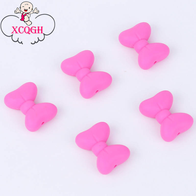 XCQGH Bow Silicone Beads Teether Necklace Chew Pendant Nurses Teething Beads DIY Baby Teething Necklace Accessories 5pcs