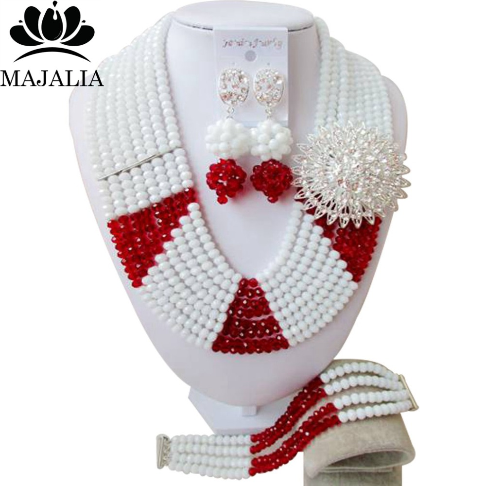 Trendy Nigeria Wedding african beads jewelry set white and red Crystal necklace bracelet earrings Free shipping VV-250Trendy Nigeria Wedding african beads jewelry set white and red Crystal necklace bracelet earrings Free shipping VV-250