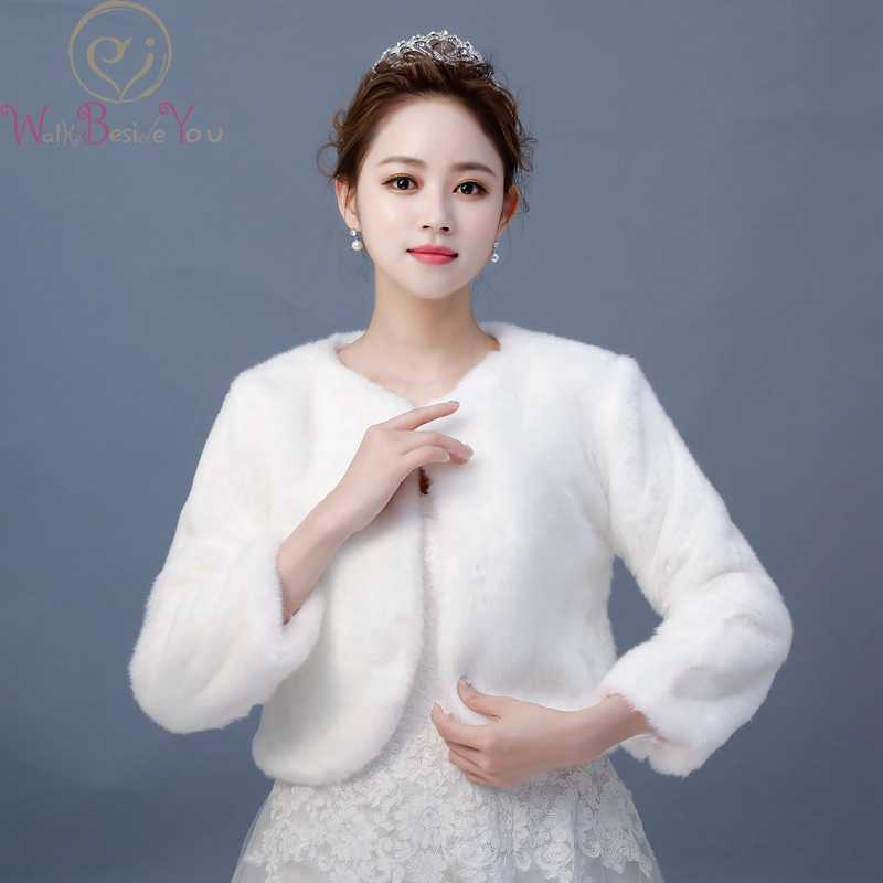 d8bae3d368c84 Walk Beside You Chaqueta Fiesta Mujer Winter Three Quarter Long Sleeves  Faux Fur Wedding Jacket Warm