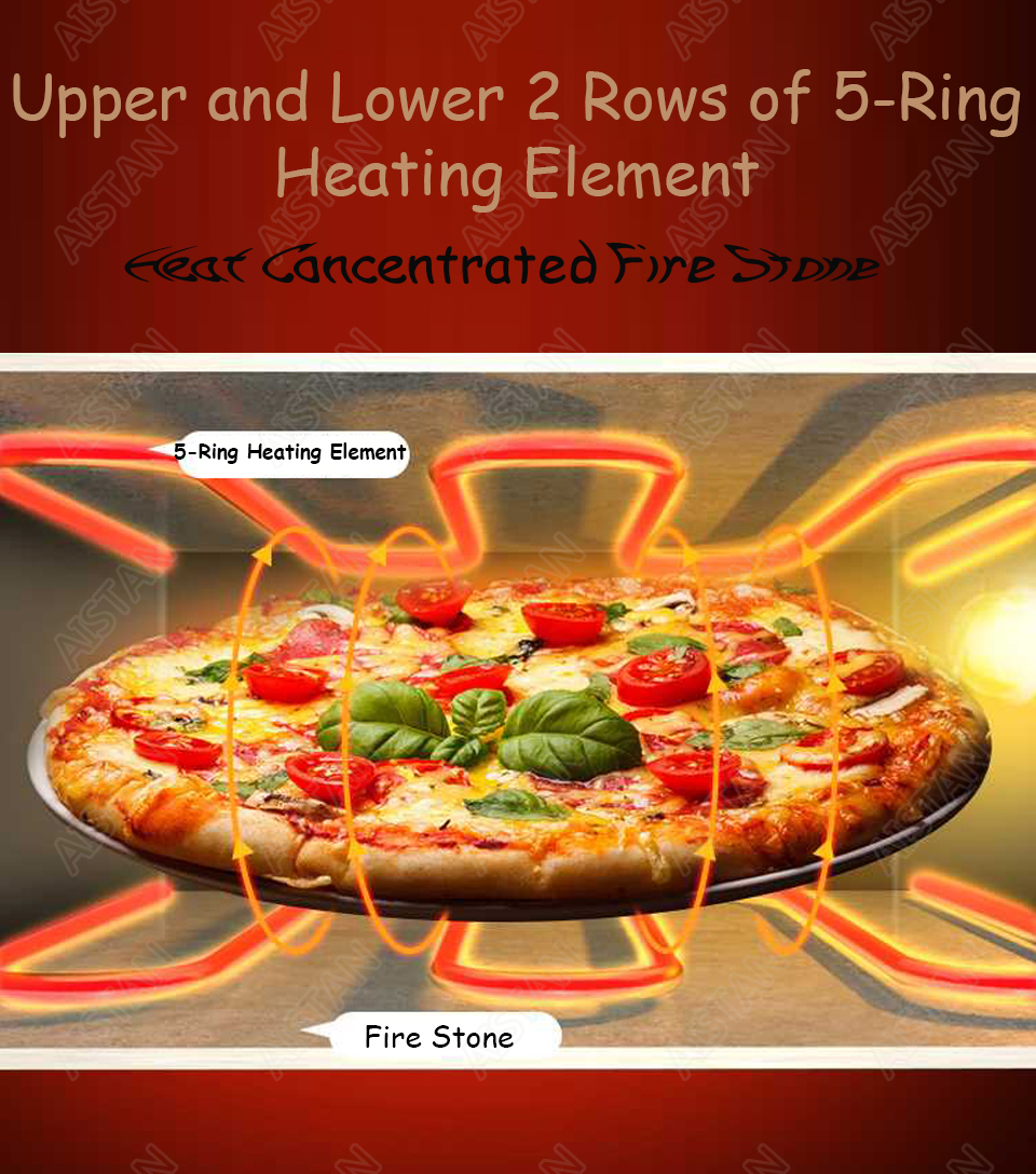 EP1AT electric stainless steel single layer higher chamber pizza oven with timer for baking bread, cake, pizza 4