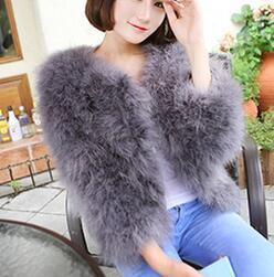 LET-SETTING 2017 hot sale Ostrich wool fur plus size women coat feather fur women  winter jackets and coats