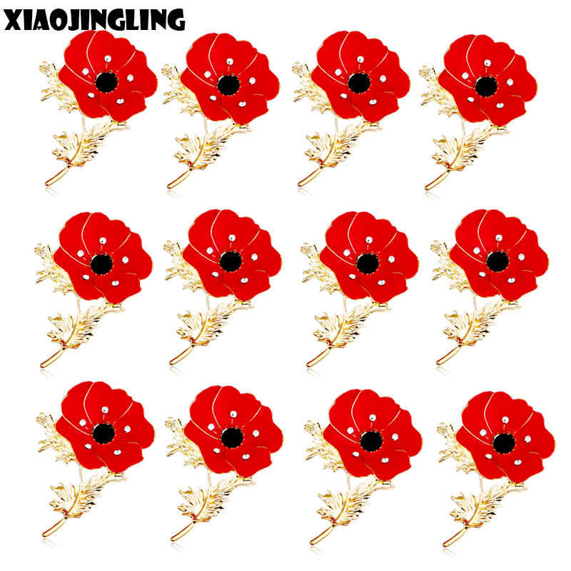 XIAOJINGLING 12 Pcs Lotus Flower Poppy Brooch Crystal Brooches Badges Fashion Women Enamel Pin Wedding Jewelry Christmas Gifts