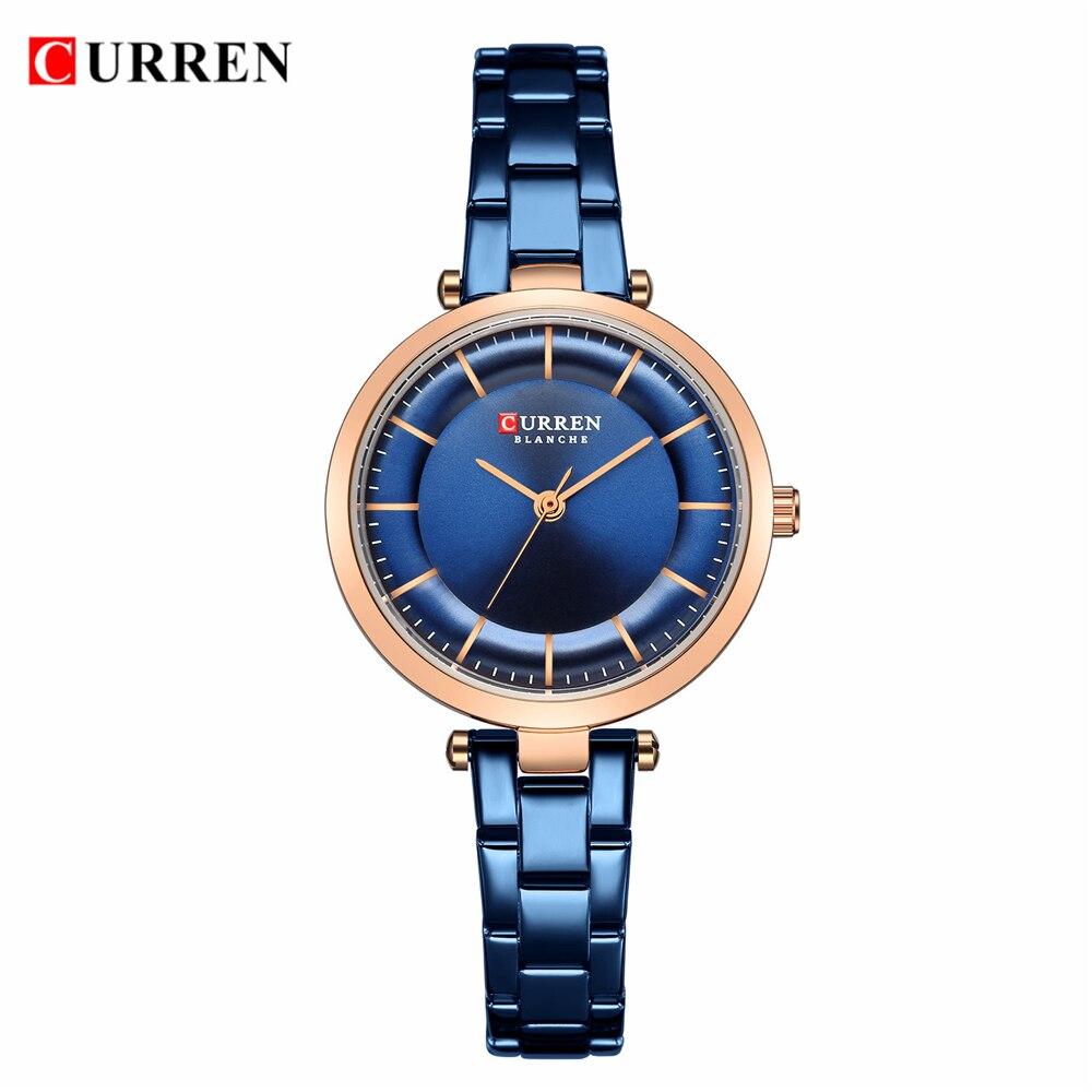 Saatler'ten Kadın Saatleri'de CURREN kadın moda izle yaratıcı Lady Casual saatler paslanmaz çelik şerit şık tasarım mavi quartz saat kadın için
