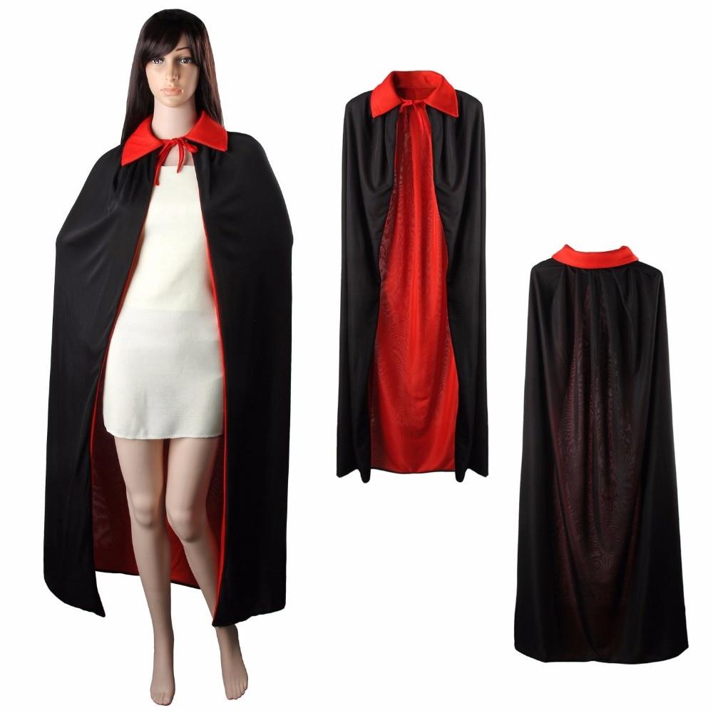 Halloween Black Vampire Cape Dracula Devil Cloak Fancy Dress Costume Full Length