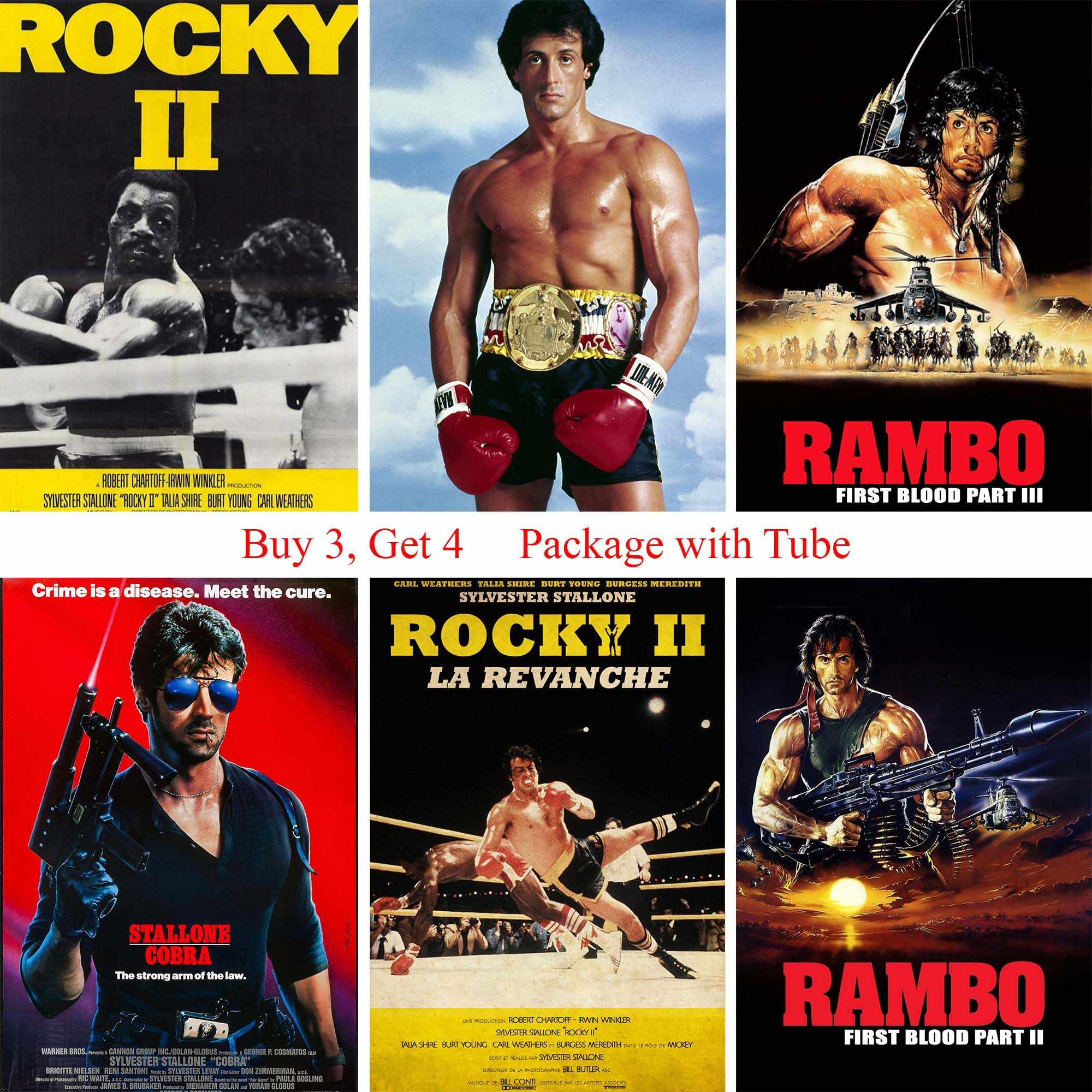 Detail Feedback Questions about STALLONE RAMBO ROCKY Posters White