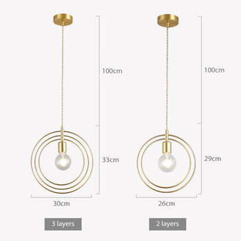 SANBUMG Nordic Moderne Kreative Ring Anhänger Lichter Goldene E27 Basis Für Wohnzimmer Nacht Restaurant Hotel Veranda Balkon Bar