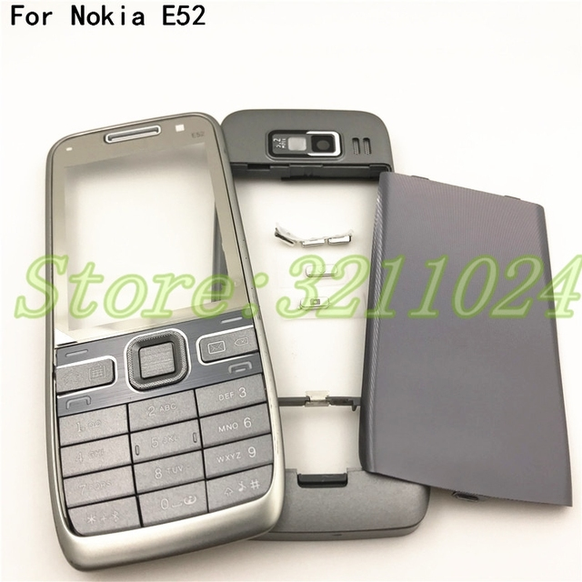 איכות טובה מקורי עבור Nokia E52 דיור קדמי מסגרת סוללה כיסוי אחורי עם אנגלית ורוסית לוח מקשים + לוגו