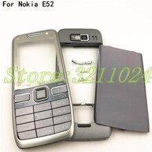คุณภาพดี Original สำหรับ Nokia E52 ที่อยู่อาศัยด้านหน้ากรอบฝาหลังแบตเตอรี่ภาษาอังกฤษและรัสเซียแป้นพิมพ์ + โลโก้