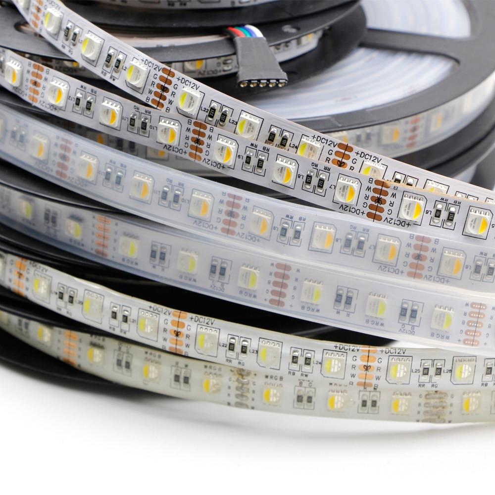 5M 5050 LED Strip light Tape 4in1 RGB RGBW RGBWW RGB+White/Warm White lamp LED String Ribbon 60LEDs/M Waterproof 12V 24V DC lamp woodpow 5m 5050 smd led strip light tape high brightness 60leds m dc 12v ice blue rgb rgbw waterproof decoration string lamp