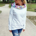 Fashion Long Sleeve White Shirts Women Slim Fit Hooded Hoodies 2016 Floral Printed Casual Sweatshirts Loose Pullovers Jumpers