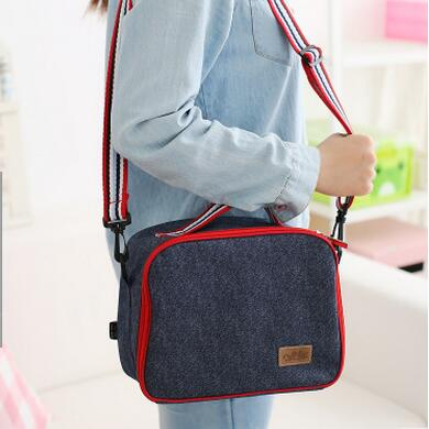 Denim Cylindrical Lunch Bag Dark Blue Portable Women Picnic Box Insulated Pack Drink Food Thermal Ice Cooler Leisure Accessories