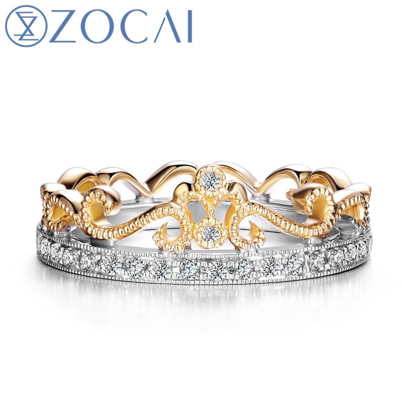 ZOCAI CROWN 100% natural diamond 0.17 ct dual color 18K yelow gold & 18K white gold  diamond wedding ring W05530