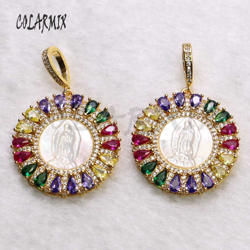 5 เส้นสายรุ้งคริสตัล charm สร้อยคอ zircon อุปกรณ์เสริมสำหรับผู้หญิงฤดูร้อนสี jewels shell หินจี้สร้อยคอ 5511