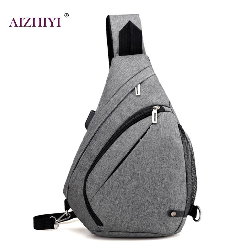 External USB Charge Chest Bags Sling Shoulder Bag Casual Bags Male Nylon Men Chest Pack Antitheft Travel Crossbody Bag For Mem