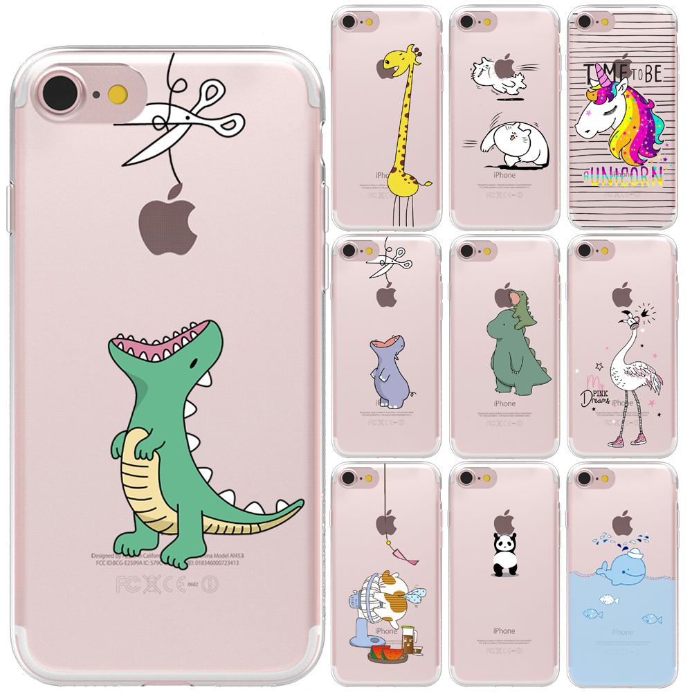 For Funda iPhone 11 Pro XS Max X XR 5 5S 6 6S 7 8 Plus Cute Animals for Cover iPhone 8 Case Soft TPU for Capa iPhone 11 Case