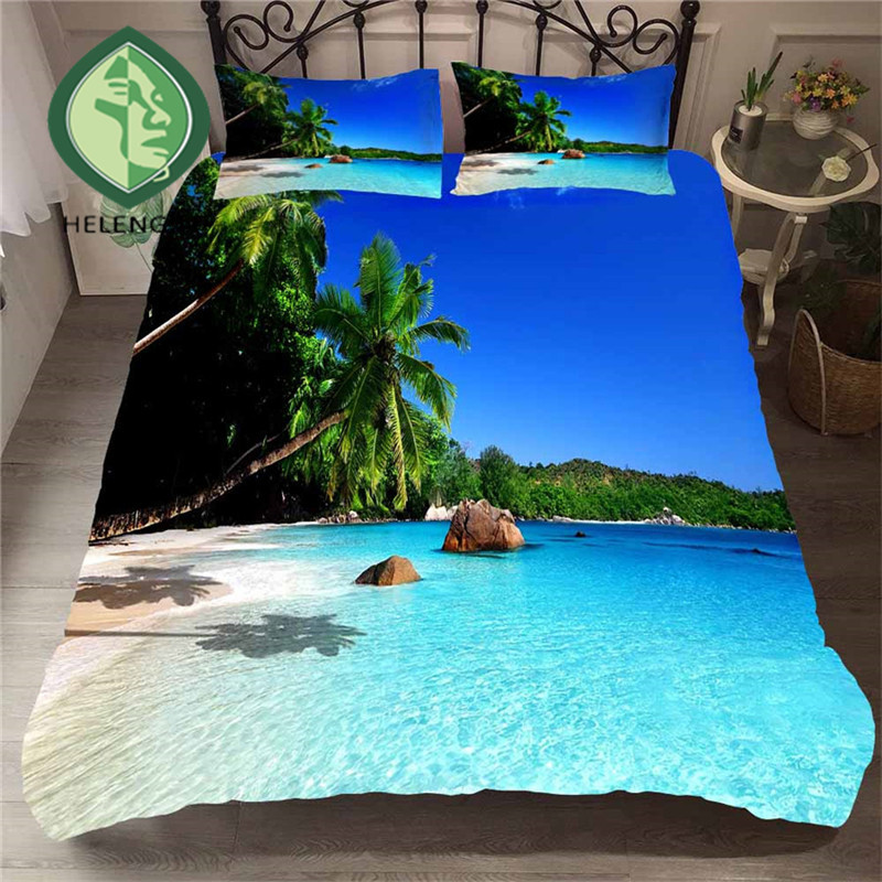 HELENGILI 3D Bedding Set Beach Sea Print Duvet Cover Set Lifelike Bedclothes with Pillowcase Bed Set Home Textiles #ST-18