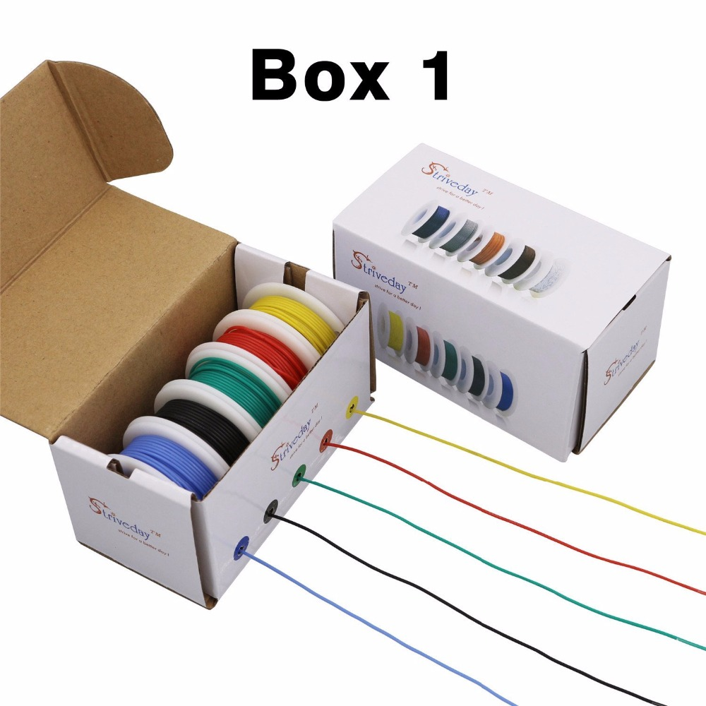 50m 28awg Flexible Silicone Wire Cable 5 Color Mix Box 1