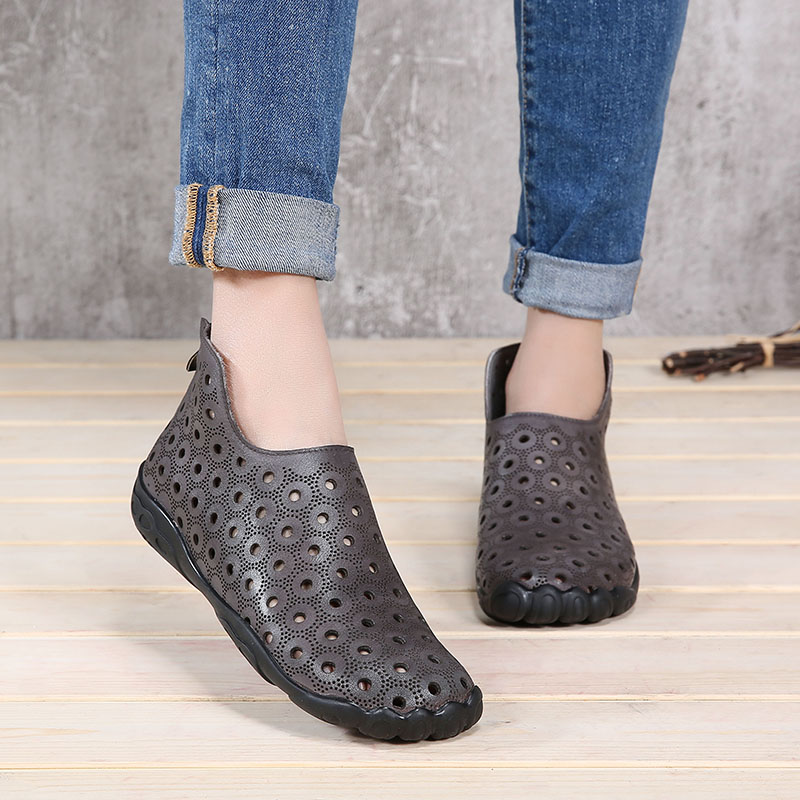VALLU 2018 Summer Women Shoes Flats Boots Cut Out Genuine Leather Back Zip Special Design Female