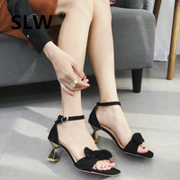 strappy heels Flock Synthetic korean style Strappy sandals Med Strange Style butterfly knot shoes with feathers Solid Fashion