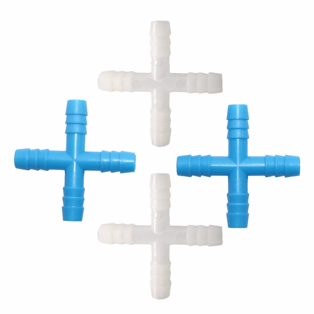500pcs 8mm 4 way barb cross tee connectors four way water splitter garden hose accessories connect the garden water pipe image
