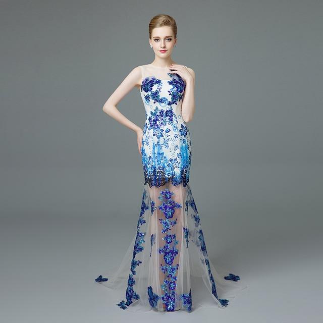 5959edad48 Gorgeous Długie Mermaid Prom Dresses UK Sheer Neck Bez Rękawów z Cekinami  Tulle Suknie Wieczorowe z