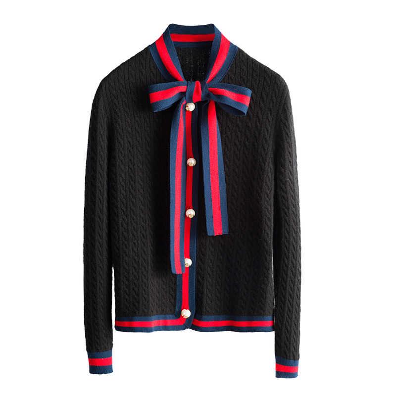 2018 Осень Новый кашемировый свитер пальто галстук-бабочка длинный рукав свитер женский жемчужный однобортный Тонкий вязаный кардиган