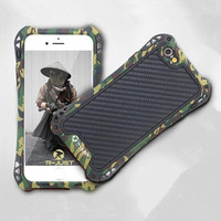 Army Camouflag Armor Shockproof Dustproof Carbon Fiber Aluminum Metal Case Cover For Iphone SE 5 5S