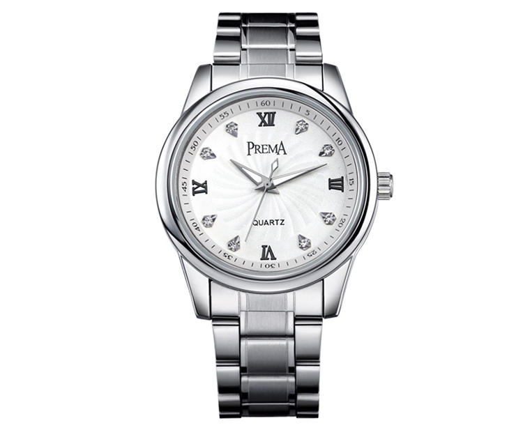 PREMA Couples Stainless Steel Clock Watch Men Women Watches Metal Watch Bracelets