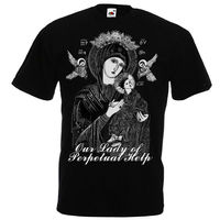 Our Lady of Perpetual Help Virgin Mary Christian Catholic T Shirt Black