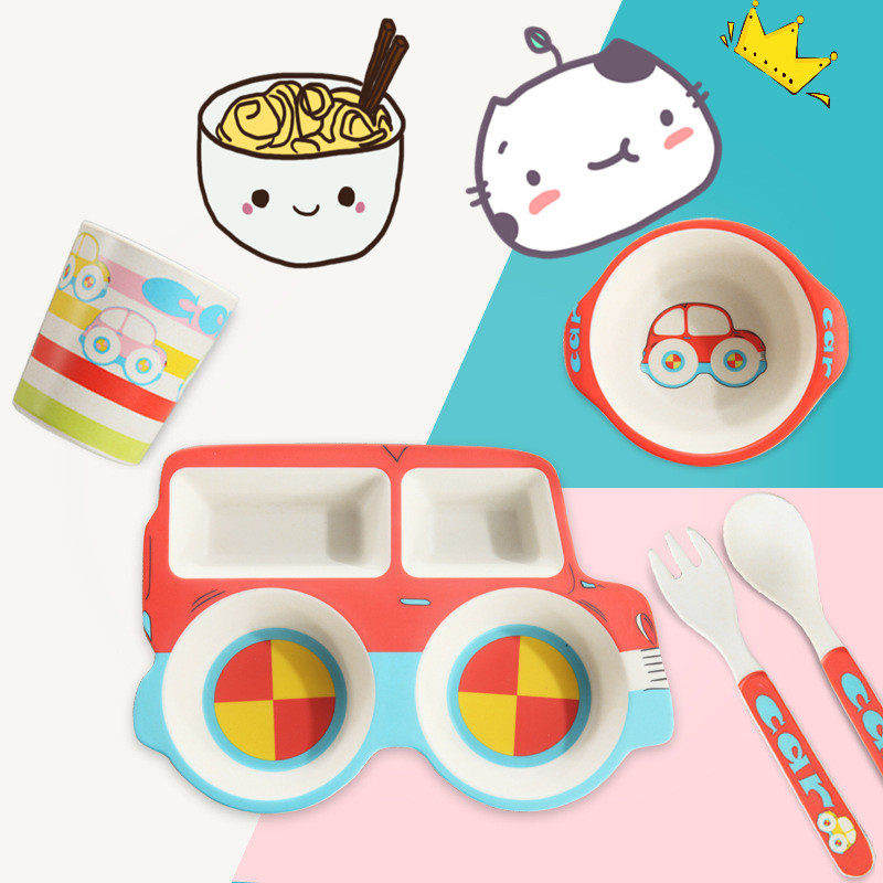 Cartoon Car Baby Feeding Set Thick Bamboo Plate Dinnerware Table Dishes for Kids Tableware Baby Food Placemat Bowl 5Pcs/Set