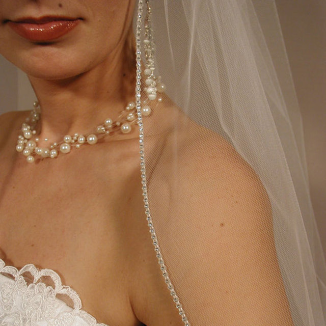 "Veu De Noiva Layer One White Ivory Sheer Wedding Veil Elbow Length 30"" Long Rhinestones Edging Bridal Veil with Comb"