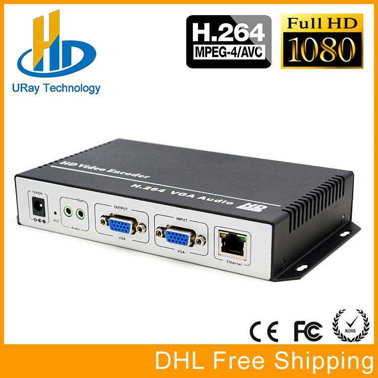 URay H.264 VGA + Stereo Audio To IP Stream Encoder IPTV Live Streaming Encoder Support HTTP, RTSP, RTMP, UDP, ONVIF http