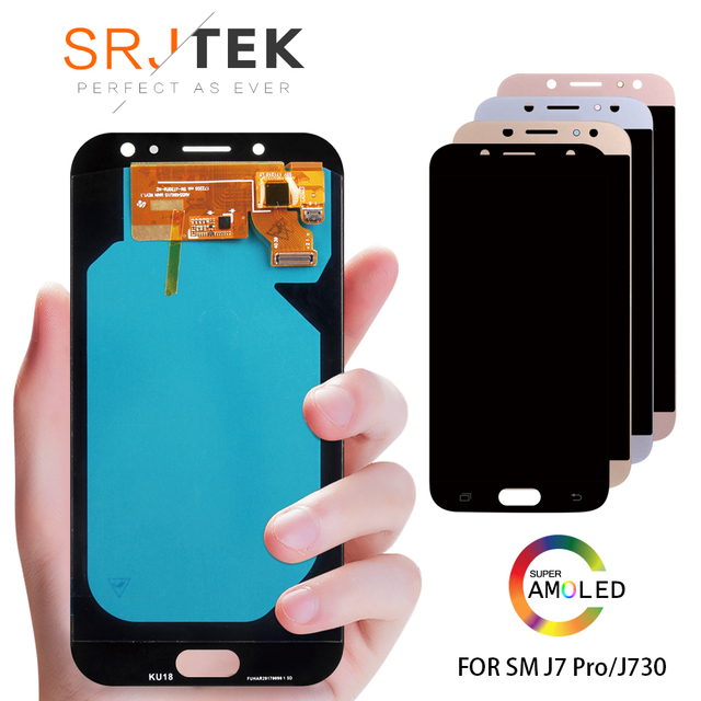 "Original 5,5 ""Pantalla AMOLED para SAMSUNG Galaxy J7 Pro J730 LCD para SAMSUNG J7 2017 pantalla digitalizador de pantalla táctil j730F"