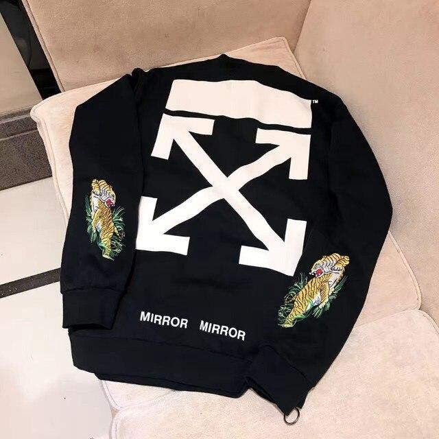dc7938de 2017 Off-White X Mirror tiger embroidery sweatshirts side zipper hiphop  women men hoodies sweatershirt Men fleece VIRGIL ABLOH