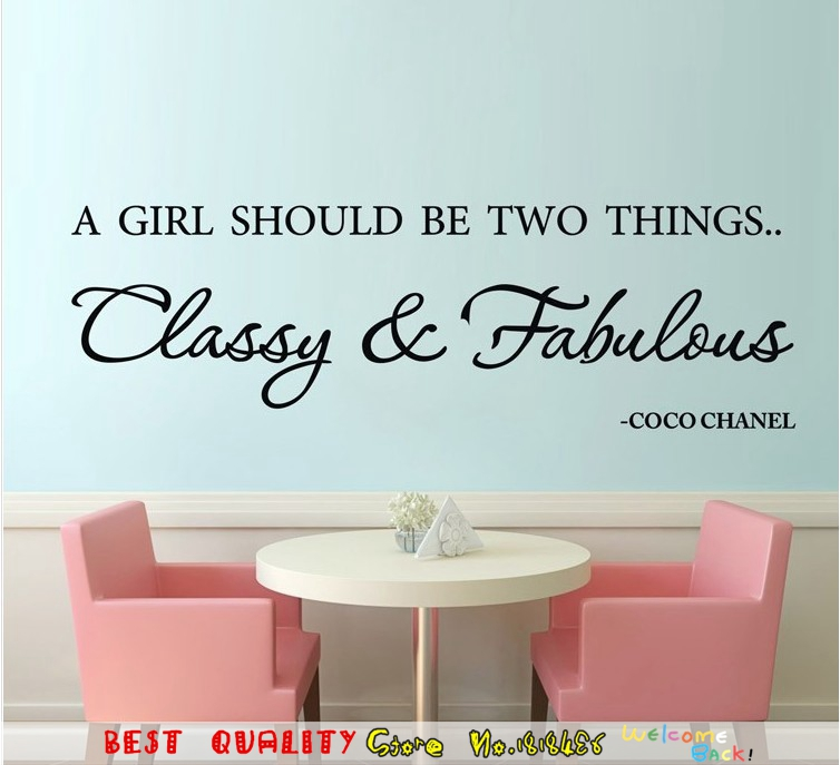 Wall Stickers A Girl Should Be Classy And Fabulous English Famous Quote Maxim Words Removable Vinyl Wall Decals Home Decor