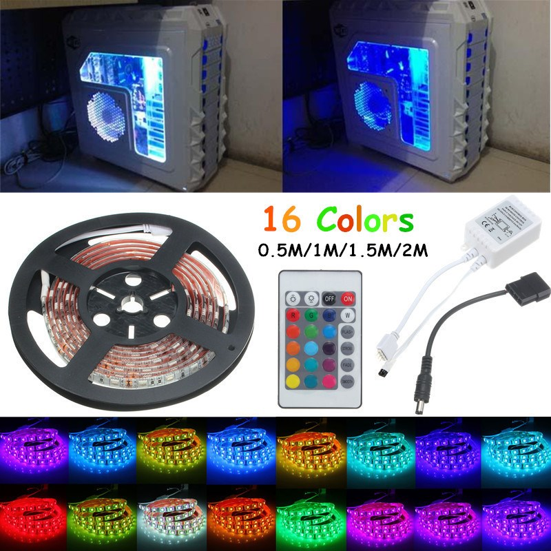 0.5M/1M/1.5M/2M Super Bright RGB 5050 SMD 16 Colors LED Strip Computer PC Chassis Lights With 24 Keys Remote Control 12V