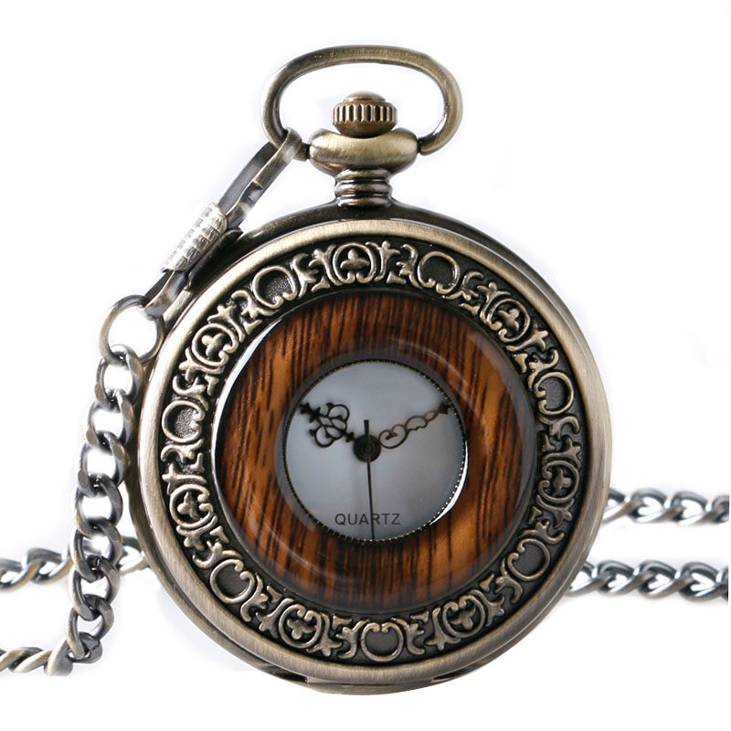 Vintage Wood Round Case Pocket Watch Luxury Quartz Analog Half Hunter For Men Women Fob Wooden Watch With Chain Top Gift Ulzzang